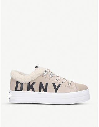 DKNY Suri leather and shearling flatform trainers