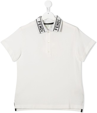 Fendi Kids TEEN logo collar polo shirt