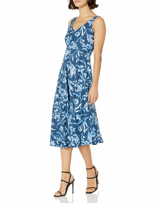 Chaps Women's Petite Sleeveless Floral Cotton Dress
