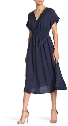 Lush Smocked Waist Embroidered Midi Dress