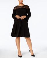MICHAEL Michael Kors Size Lace-Trim Fit and Flare Dress