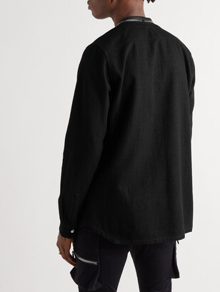 Rick Owens Larry Collarless Cotton And Wool-Blend Shirt