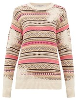 Golden Goose Charlotte Distressed-fair Isle Sweater - Womens - Ivory Multi