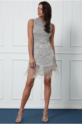 Goddiva Fringe Hem Embellished Mini Dress - Silver