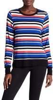 Andrew Marc Hi-Lo Multi-Stripe Long Sleeve Tee