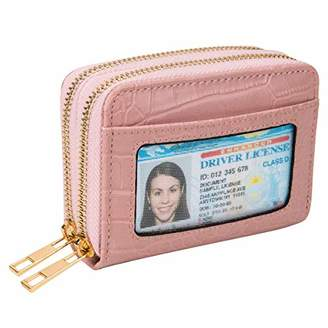 Heaye Card Case Wallet RFID with ID Window Zipper Animal Alligator Crocodile Pink