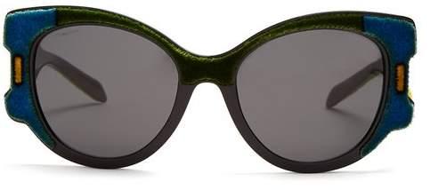 Prada Velvet Covered Cat Eye Sunglasses - Womens - Blue Multi