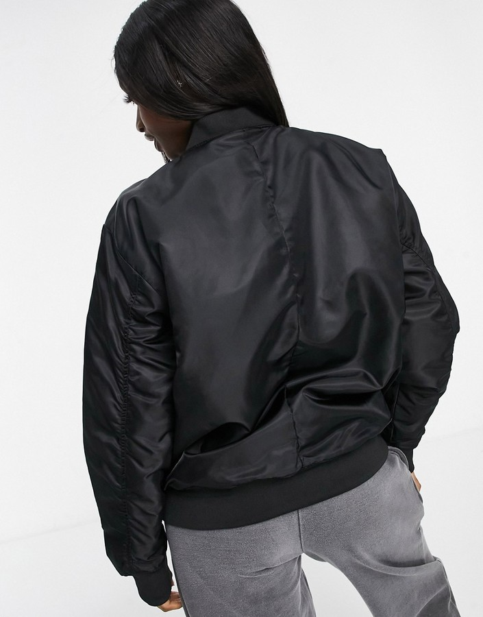Thumbnail for your product : Brave Soul brazil oversized MA1 bomber jacket with ruched sleeves