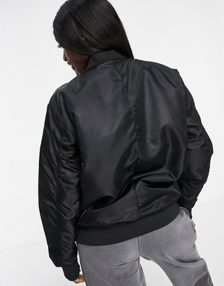 Brave Soul brazil oversized MA1 bomber jacket with ruched sleeves