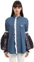 Forte Couture Cotton Denim Jacket W/ Bandana Sleeves