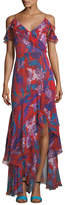 Peter Pilotto Ruffled Georgette Cold-Shoulder Gown