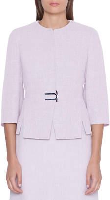 Akris Anais Short Linen-Wool Jacket