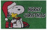 """Peanuts Snoopy """"Merry Christmas"""" 18-Inch x 28-Inch Door Mat in Green"""