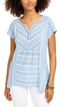 Style&Co. Style & Co Petite Sammy Star Striped Handkerchief-Hem Top, Created for Macy's