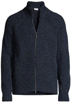 Brioni Marled-Knit Wool Cardigan