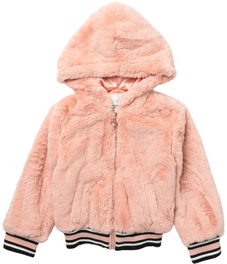 Urban Republic Hooded Faux Fur Bomber Jacket (Toddler Girls)