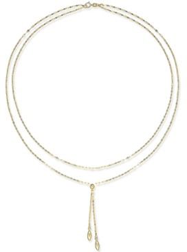 "Macy's Double Layer 17"" Lariat Necklace in 14k Gold"