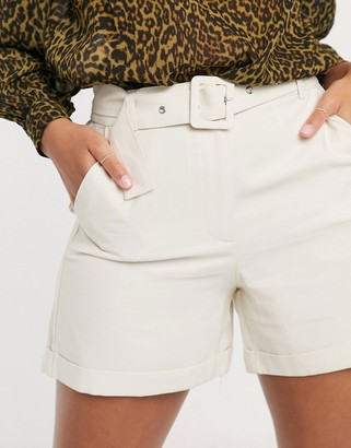 Vila tailored belted shorts in cream