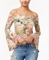 Polly & Esther Juniors' Off-The-Shoulder Floral-Print Top