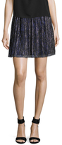 Accordion Pleated Metallic Mini Skirt