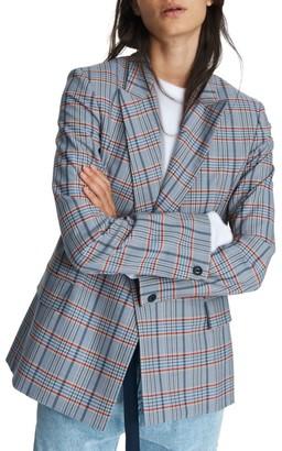 Rag & Bone Elise Double-Breasted Check Wool-Blend Blazer