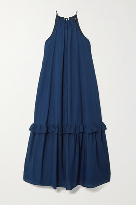 STAUD Halterneck Tiered Woven Maxi Dress - Navy