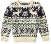 Ralph Lauren Fair Isle Reindeer Pullover Sweater, Cream/Multicolor, Size 2-7