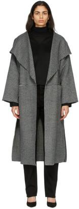 Totême Black and White Wool Herringbone Signature Coat