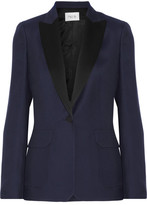 Pallas Adelaide Satin-trimmed Crepe Blazer - Midnight blue