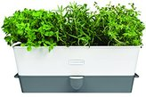 Cole & Mason Fresh Herb Range Self-Watering Potted Herb Keeper - Enamel Coated Steel/White and Grey, Triple