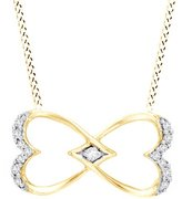 Jewel Zone US Diamond Heart-Shaped Infinity Pendant 14K Gold Over Sterling Silver (1/10 cttw)