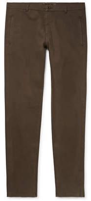 Aspesi Slim-Fit Garment-Dyed Stretch-Cotton Twill Drawstring Trousers