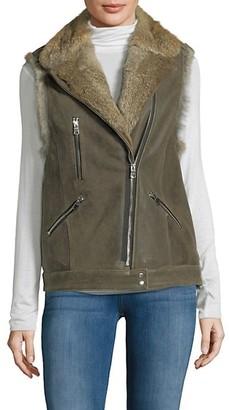 Wolfie Fur Rabbit Fur-Trim Leather Vest