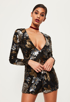 Missguided Premium Black Floral Sequin Romper