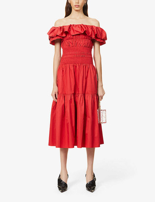Self-Portrait Ruffle cotton midi dress