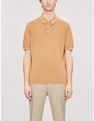 Eleventy Two-tone cotton-knit polo shirt