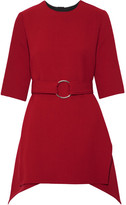 Marni Asymmetric Belted Wool-crepe Top - Claret