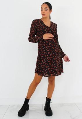 Missguided Black Floral Maternity Half Button Tea Dress