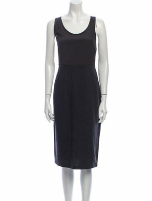 Brunello Cucinelli Scoop Neck Midi Length Dress Grey
