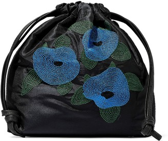 Clare Vivier Leather-trimmed Embroidered Taffeta Pouch