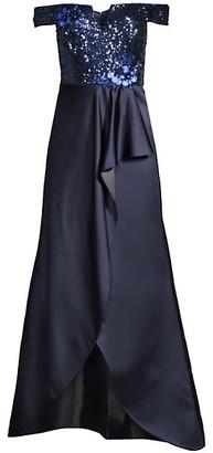 Aidan Mattox Embellished Sequin Off-The-Shoulder Satin Dress