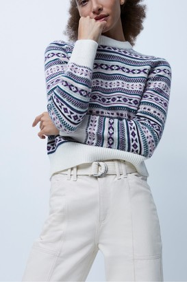 French Connection Kelsa Knits Fairisle Cropped Jumper