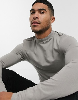 ASOS DESIGN muscle fit long sleeve turtle neck t-shirt in green