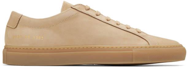 Common Projects Tan Nubuck Original Achilles Low Sneakers
