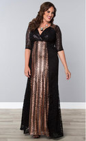 Kiyonna Plus Size Black & Rose Gold Scallop Sequin Grand Gatsby Gown