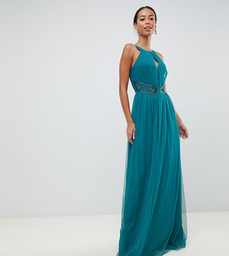 Little Mistress Tall plunge front embellished maxi dress in green