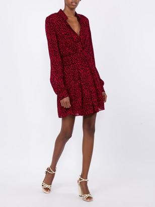Saint Laurent Red Leopard Draped Short Dress