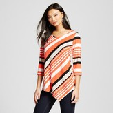Notations Women's 3/4 Sleeve Striped Knit Top with Asymmetrical Hem