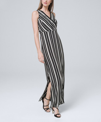 White House Black Market Women's Maxi Dresses Black - Black & Ecru Stripe Surplice Maxi Dress - Women