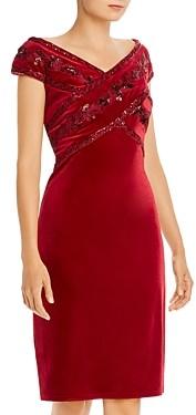 Tadashi Shoji Crisscross Velvet Sequin Dress - 100% Exclusive